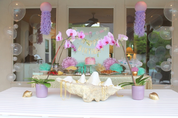 Beautiful party details from an Under the Sea Birthday Pool Party via Kara's Party Ideas | KarasPartyIdeas.com (15)