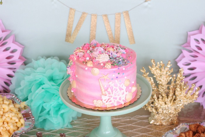 Cake display from an Under the Sea Birthday Pool Party via Kara's Party Ideas | KarasPartyIdeas.com (12)