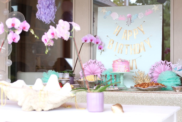 Stunning party tables from an Under the Sea Birthday Pool Party via Kara's Party Ideas | KarasPartyIdeas.com (10)