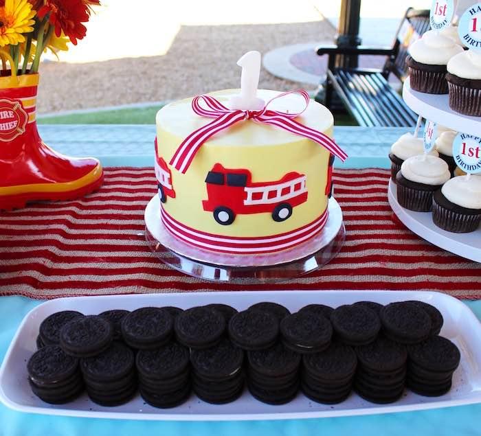 Cake display from a Vintage Fireman Themed Birthday Party via Kara's Party Ideas KarasPartyIdeas.com (7)