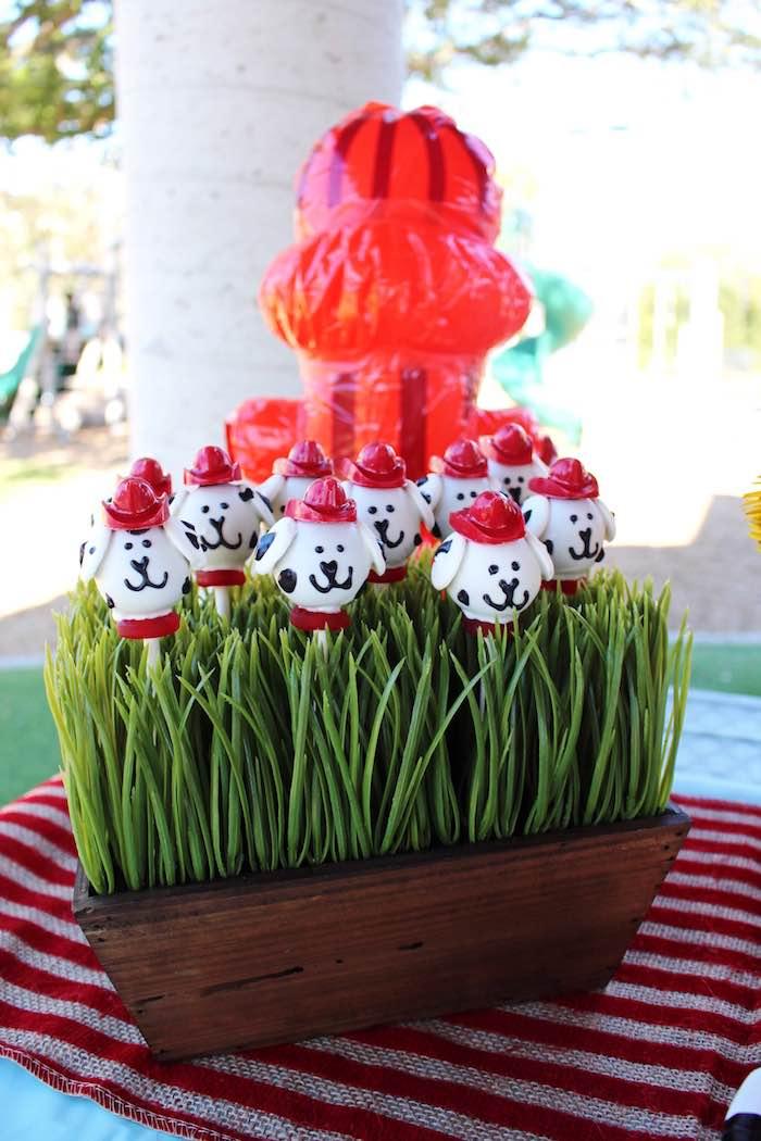 Dalmatian dog cake pops from a Vintage Fireman Themed Birthday Party via Kara's Party Ideas KarasPartyIdeas.com (25)