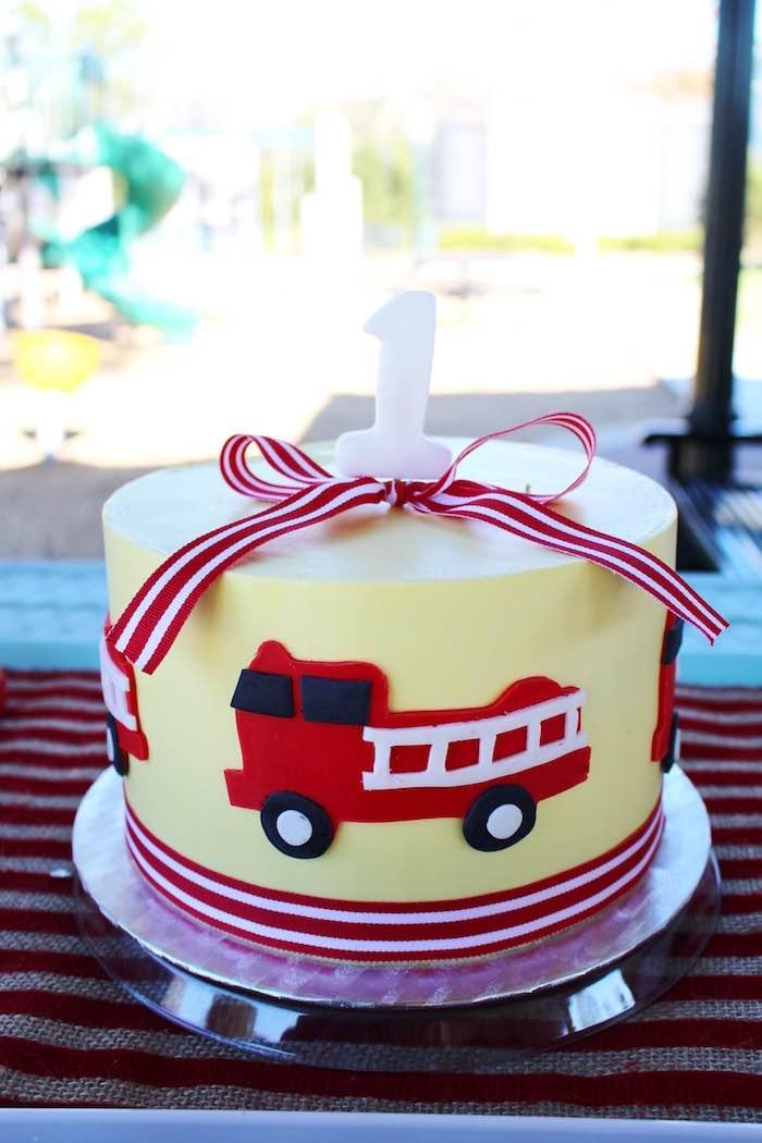 Cake from a Vintage Fireman Themed Birthday Party via Kara's Party Ideas KarasPartyIdeas.com (22)