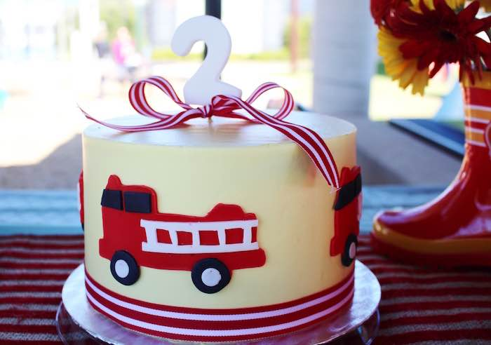 Cake from a Vintage Fireman Themed Birthday Party via Kara's Party Ideas KarasPartyIdeas.com (21)