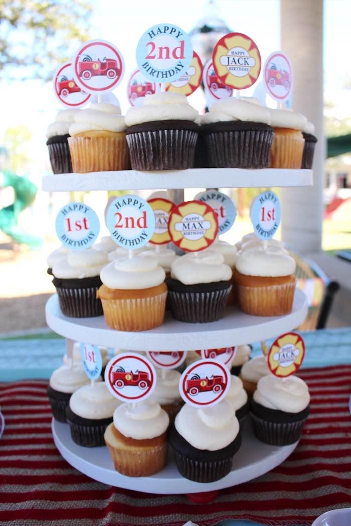 Firehouse cupcakes from a Vintage Fireman Themed Birthday Party via Kara's Party Ideas KarasPartyIdeas.com (20)