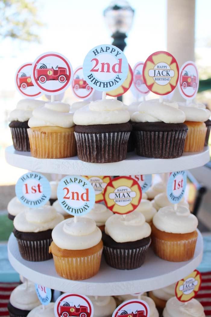 Firman-inspired cupcakes from a Vintage Fireman Themed Birthday Party via Kara's Party Ideas KarasPartyIdeas.com (18)