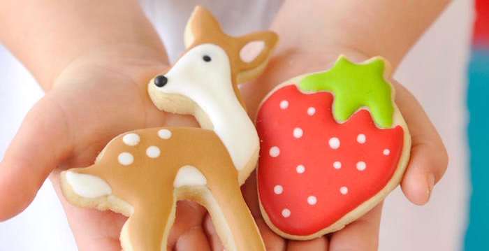 Really cute woodland sugar cookies from a Vintage Floral Woodland Birthday Party via Kara's Party Ideas KarasPartyIdeas.com (1)