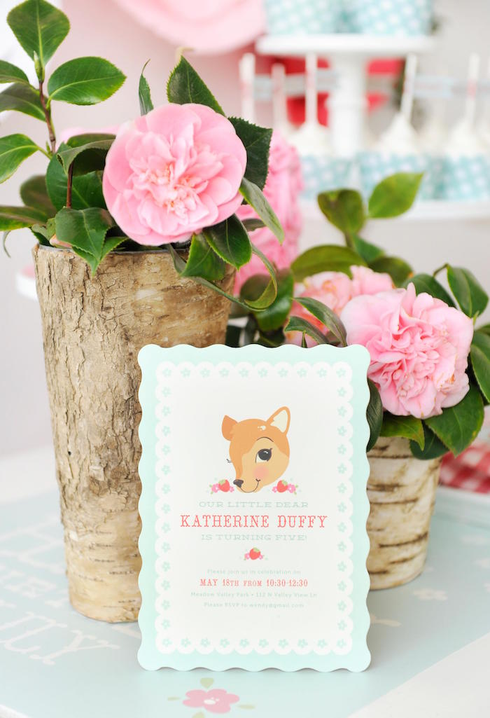 Fancy Fawn Invitation From A Vintage Floral Woodland Birthday Party Via Karas Ideas KarasPartyIdeas
