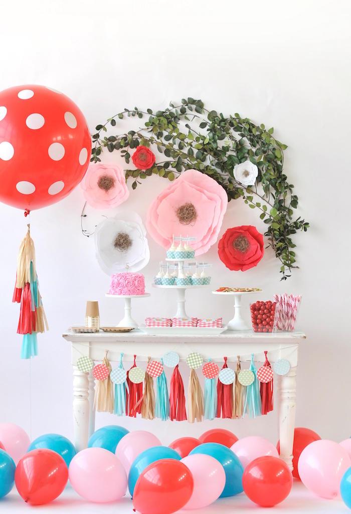 Dessert table from a Vintage Floral Woodland Birthday Party via Kara's Party Ideas KarasPartyIdeas.com (18)