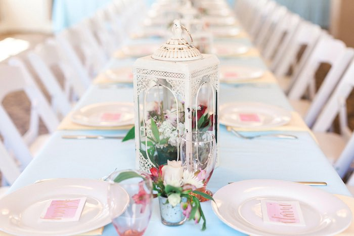 Flower Filled Lantern Centerpiece From A Vintage Garden 90th Birthday Party Via Karas Ideas KarasPartyIdeas