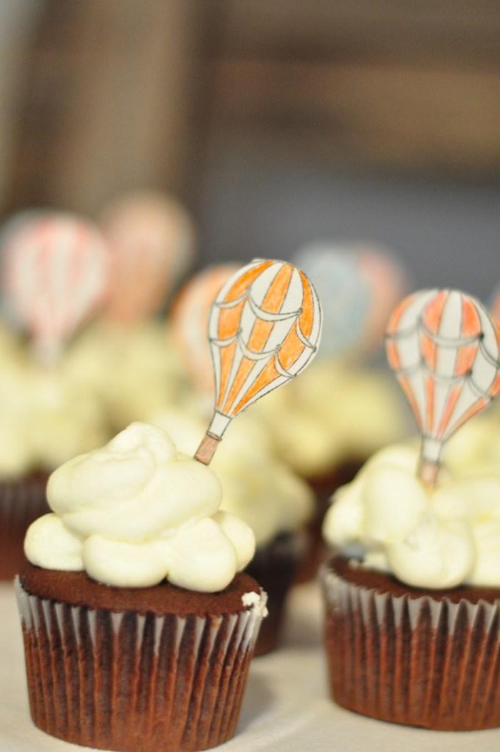 Cupcakes from a Vintage Hot Air Balloon Baby Shower via Kara's Party Ideas   KarasPartyIdeas.com (5)