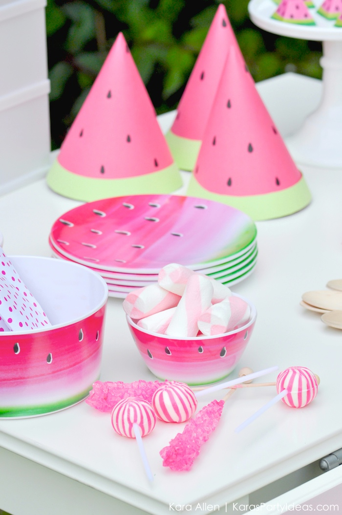 Watermelon themed DIY birthday party by Kara's Party Ideas | Kara Allen | KarasPartyIdeas.com #MichaelsMakers You're one in a melon!_-40