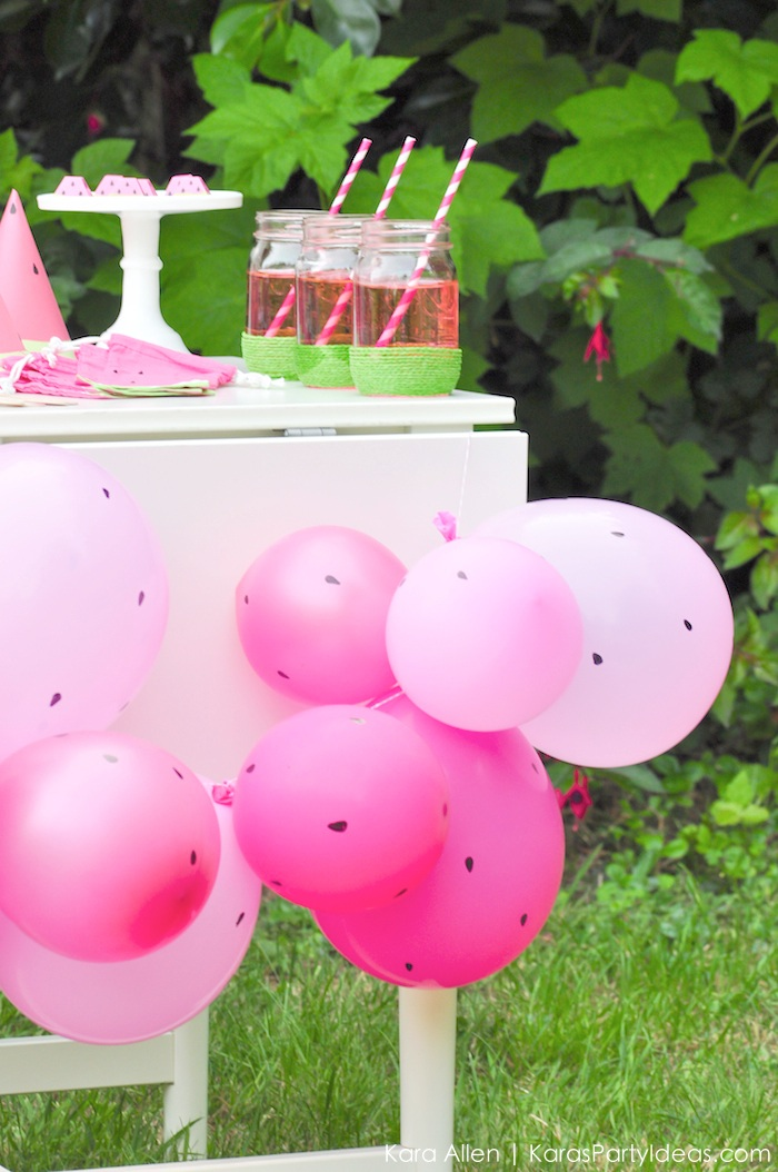 Watermelon painted balloons by Kara's party ideas