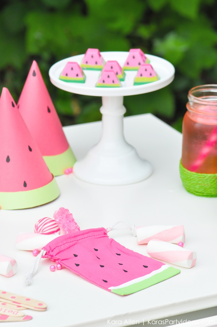 Watermelon themed DIY birthday party by Kara's Party Ideas | Kara Allen | KarasPartyIdeas.com #MichaelsMakers You're one in a melon!_-64