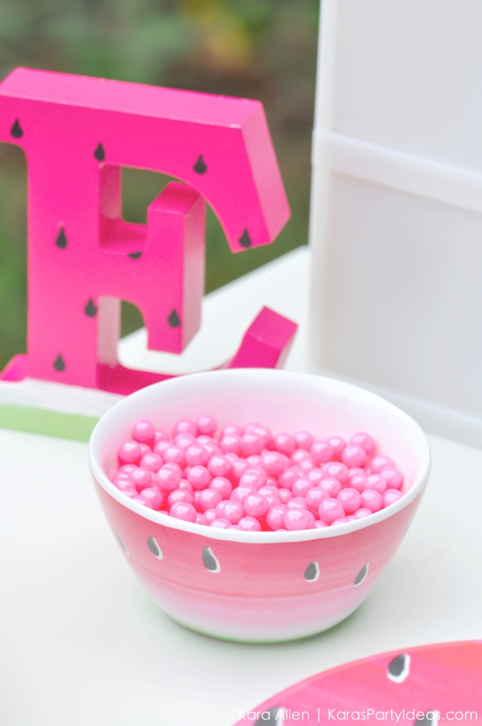 Watermelon themed DIY birthday party by Kara's Party Ideas | Kara Allen | KarasPartyIdeas.com #MichaelsMakers You're one in a melon!_-68