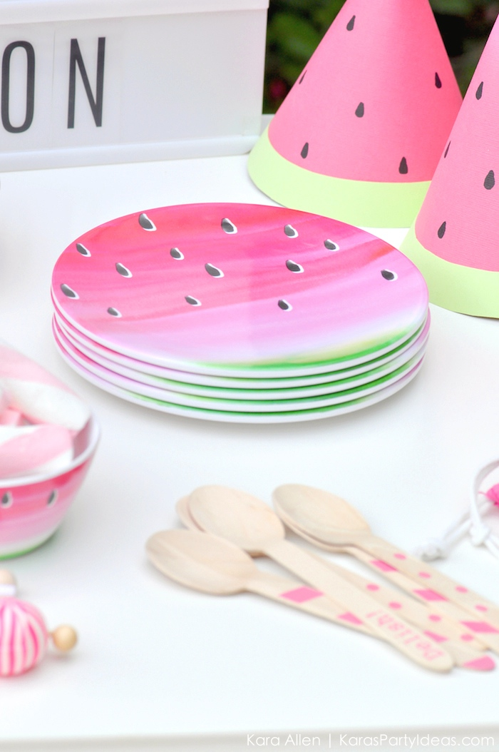 Watermelon themed DIY birthday party by Kara's Party Ideas | Kara Allen | KarasPartyIdeas.com #MichaelsMakers You're one in a melon!_-7