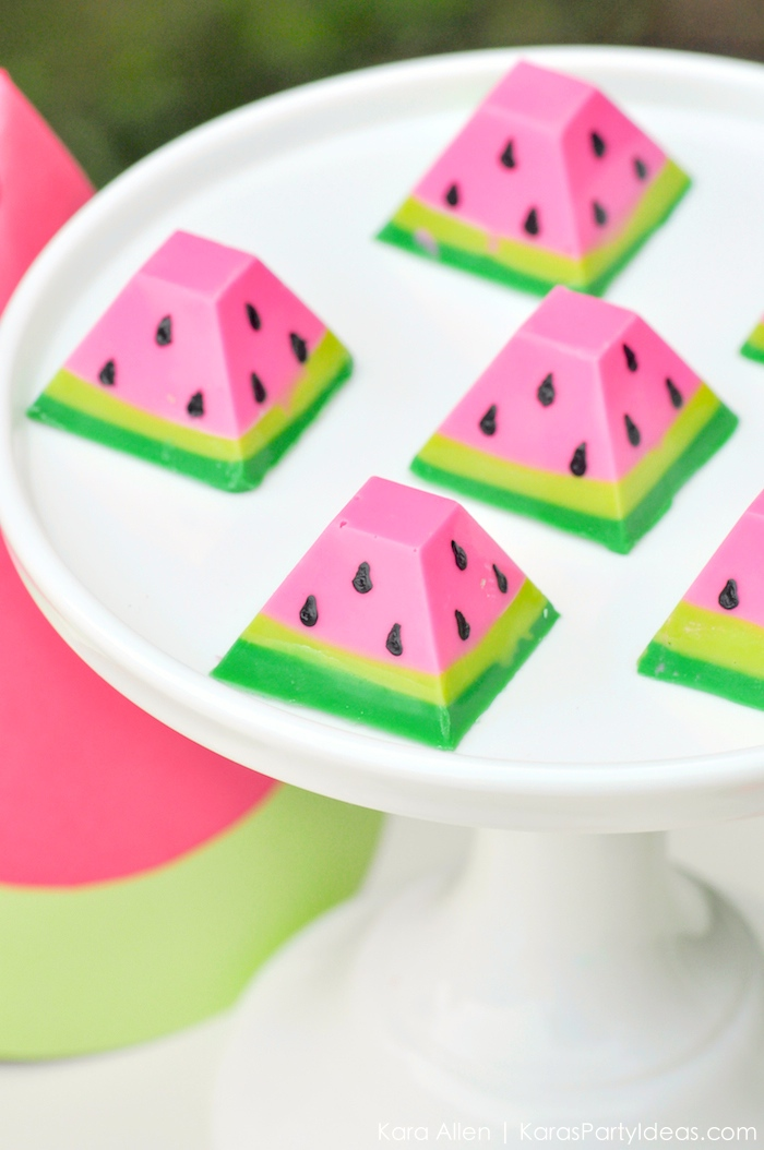 Watermelon themed DIY birthday party chocolates by Kara's Party Ideas | Kara Allen | KarasPartyIdeas.com #MichaelsMakers You're one in a melon! 2