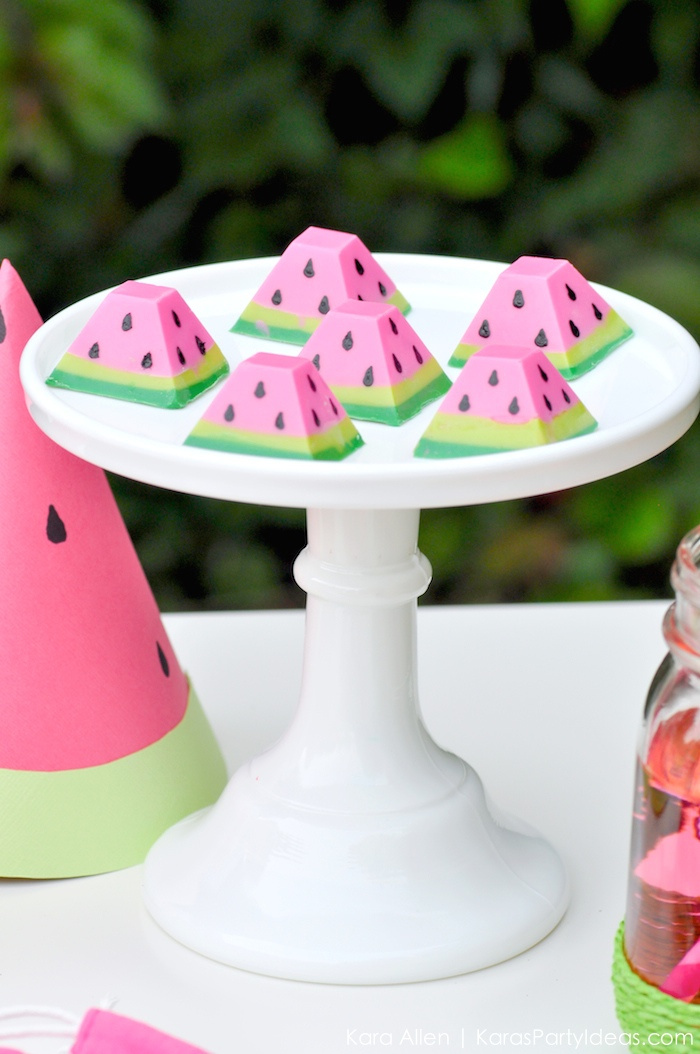 Watermelon themed DIY birthday party chocolates by Kara's Party Ideas | Kara Allen | KarasPartyIdeas.com #MichaelsMakers You're one in a melon! 5