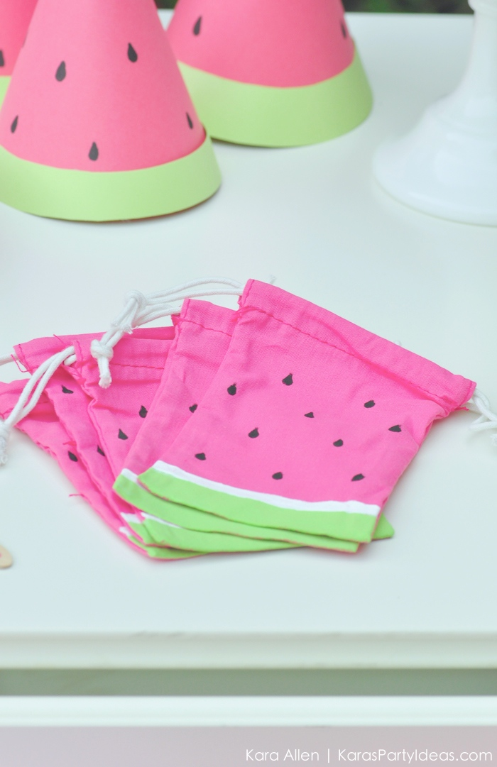 Watermelon themed DIY birthday party favor bag by Kara's Party Ideas | Kara Allen | KarasPartyIdeas.com #MichaelsMakers You're one in a melon! 5