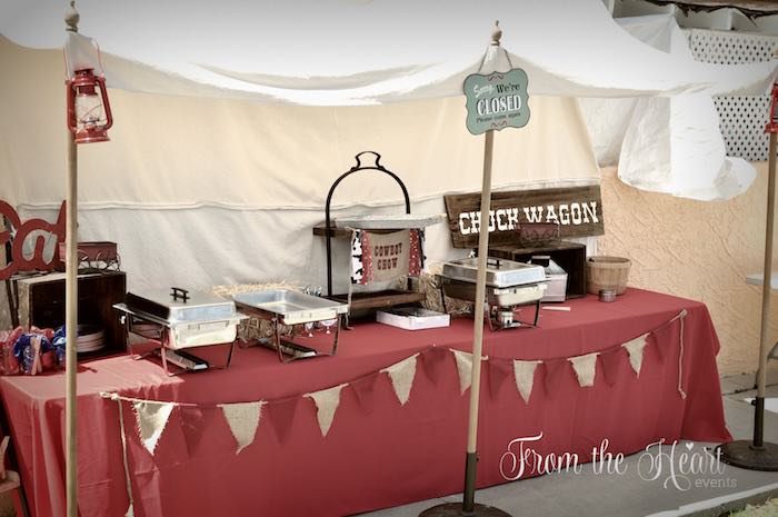 Chuck Wagon Food Table from a Wild West Cowboy Party via Kara's Party Ideas | KarasPartyIdeas.com - The Place for All Things Party! (37)
