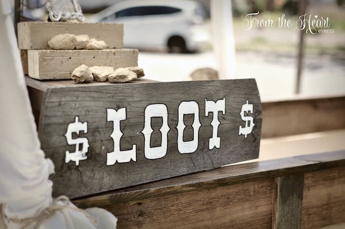 "Wooden ""loot"" sign from a Wild West Cowboy Party via Kara's Party Ideas 