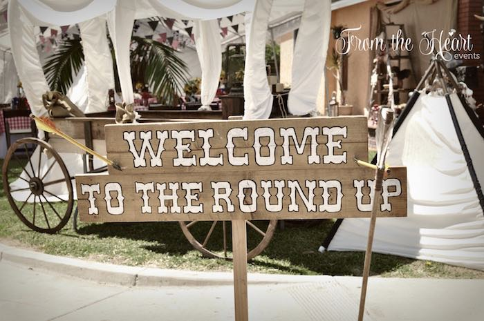 Rustic welcome sign from a Wild West Cowboy Party via Kara's Party Ideas | KarasPartyIdeas.com - The Place for All Things Party! (23)