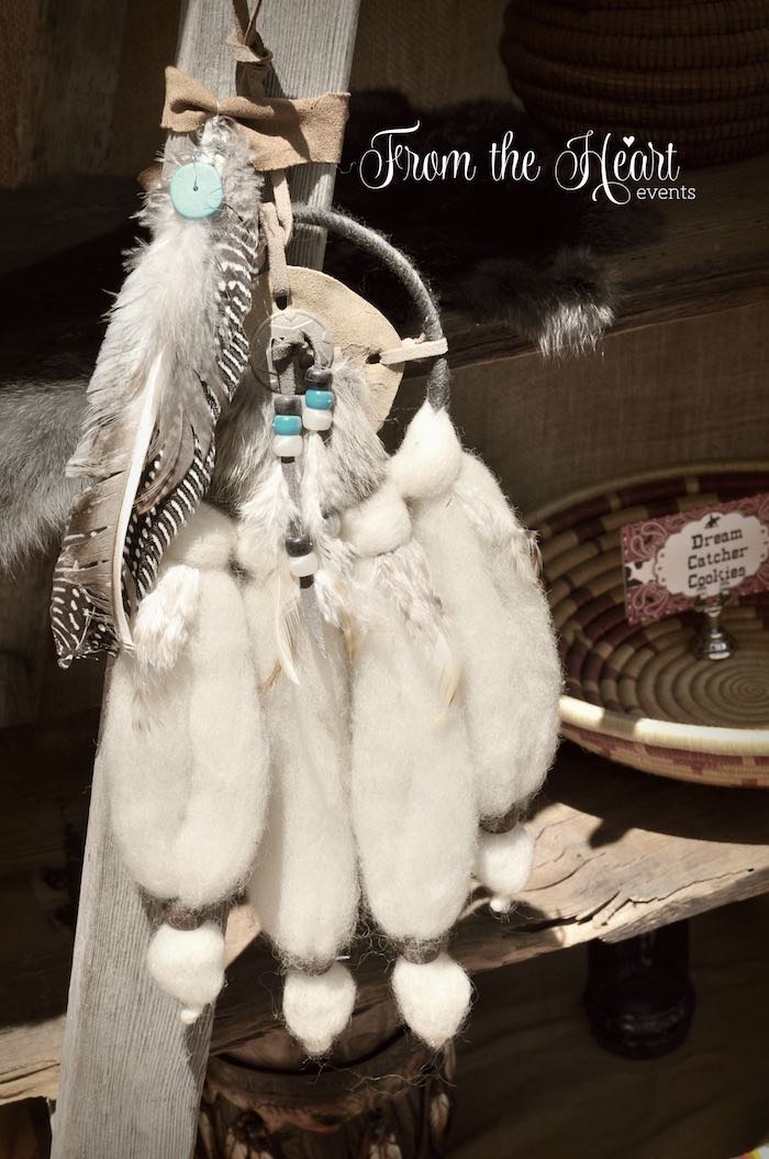 Fur pelt dreamcatcher from a Wild West Cowboy Party via Kara's Party Ideas | KarasPartyIdeas.com - The Place for All Things Party! (21)