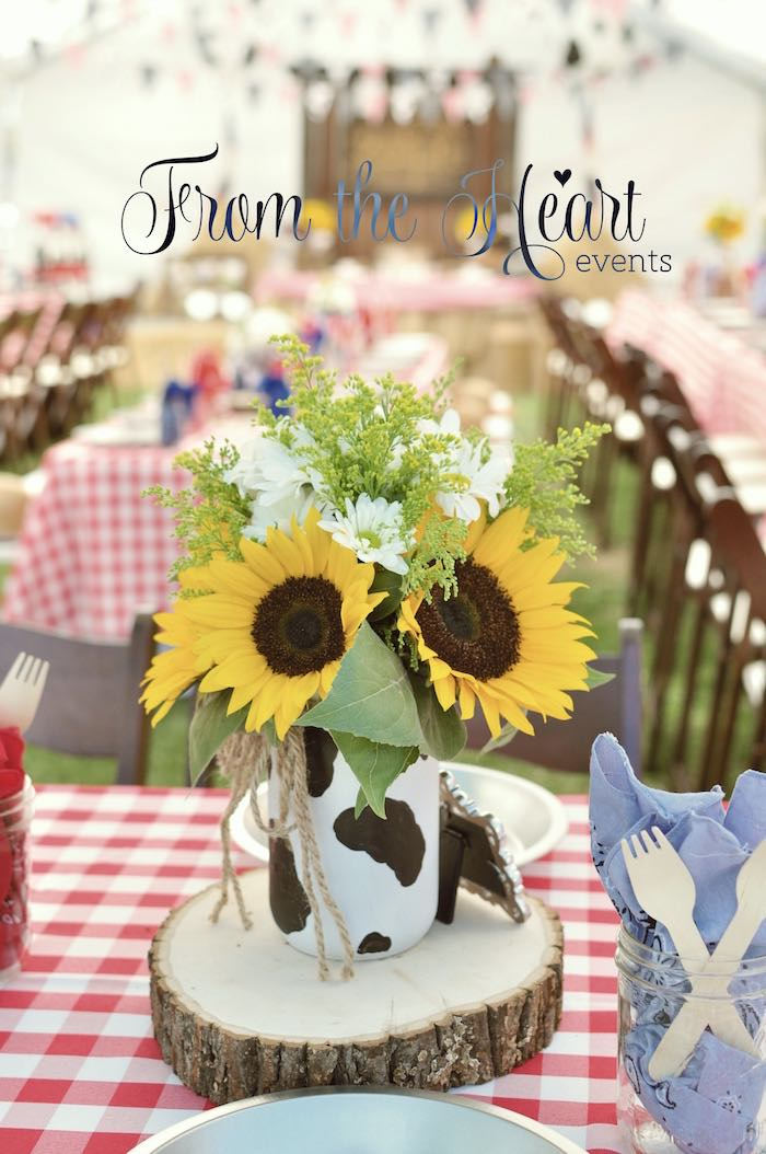 Sunflower centerpiece from a Wild West Cowboy Party via Kara's Party Ideas | KarasPartyIdeas.com - The Place for All Things Party! (47)