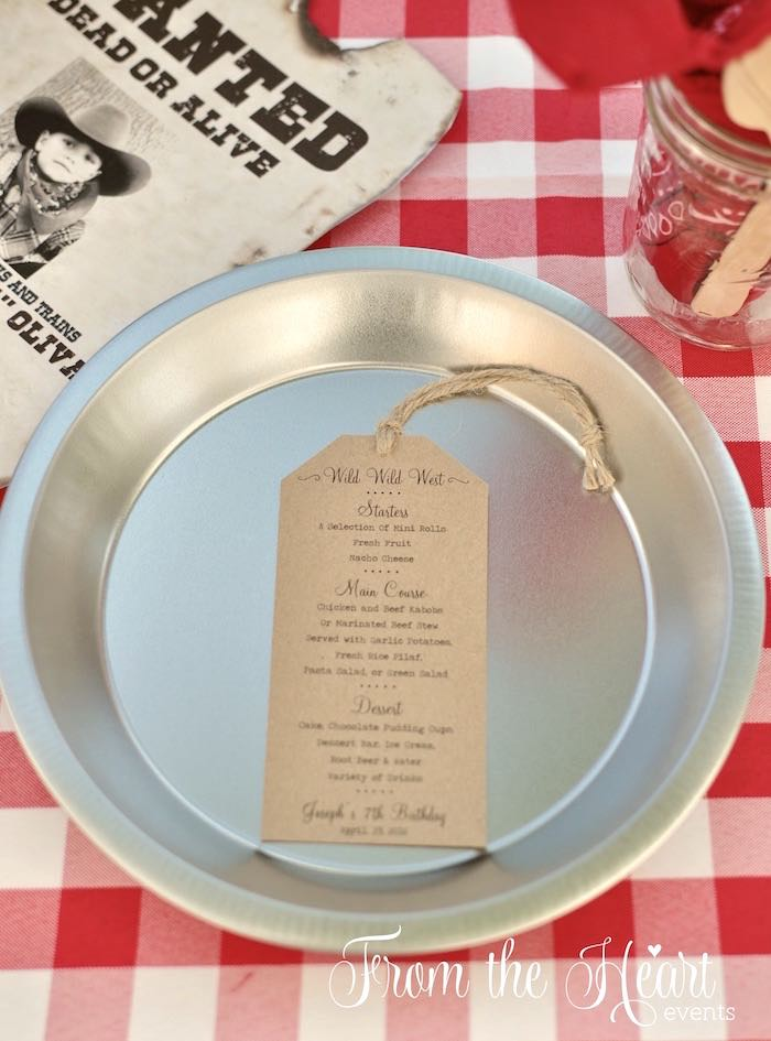 Pie tin plate from a Wild West Cowboy Party via Kara's Party Ideas | KarasPartyIdeas.com - The Place for All Things Party! (45)