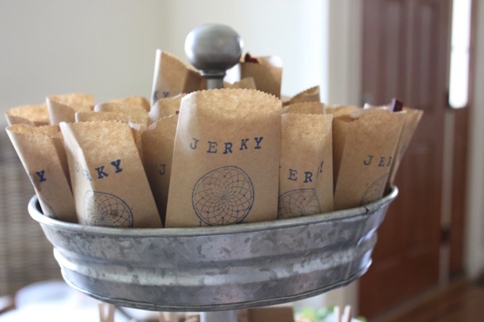 Jerky snack sacks from a 1st Birthday Pow Wow via Kara's Party Ideas | KarasPartyIdeas.com (12)