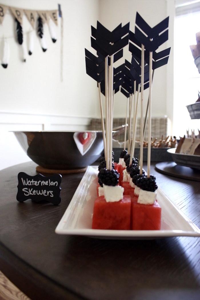 Watermelon arrow skewers from a 1st Birthday Pow Wow via Kara's Party Ideas | KarasPartyIdeas.com (10)