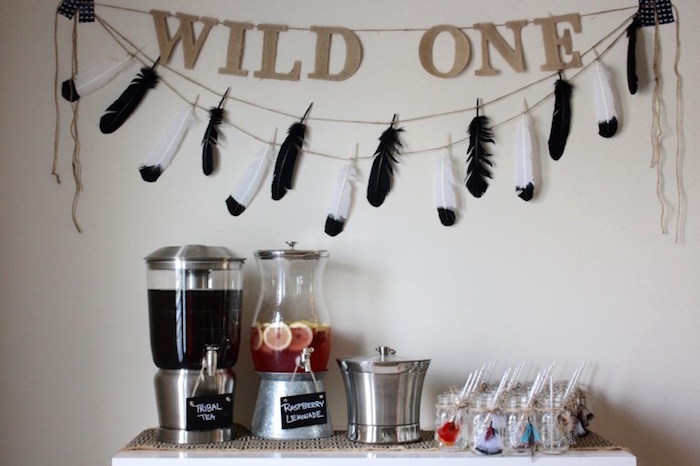 Drink table from a 1st Birthday Pow Wow via Kara's Party Ideas | KarasPartyIdeas.com (9)