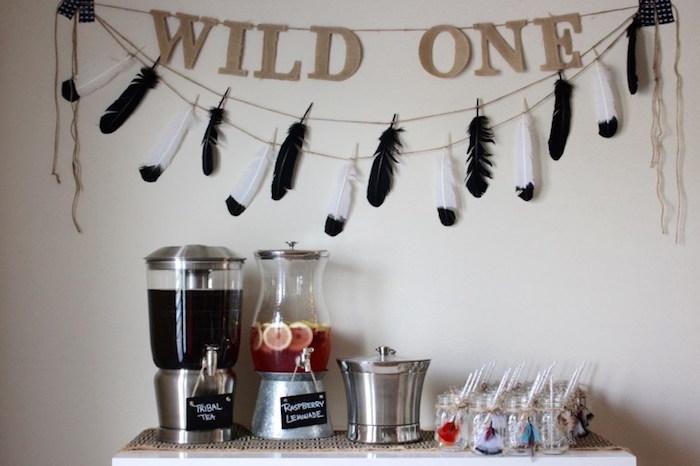 Drink table from a 1st Birthday Pow Wow via Kara's Party Ideas | KarasPartyIdeas.com (9)