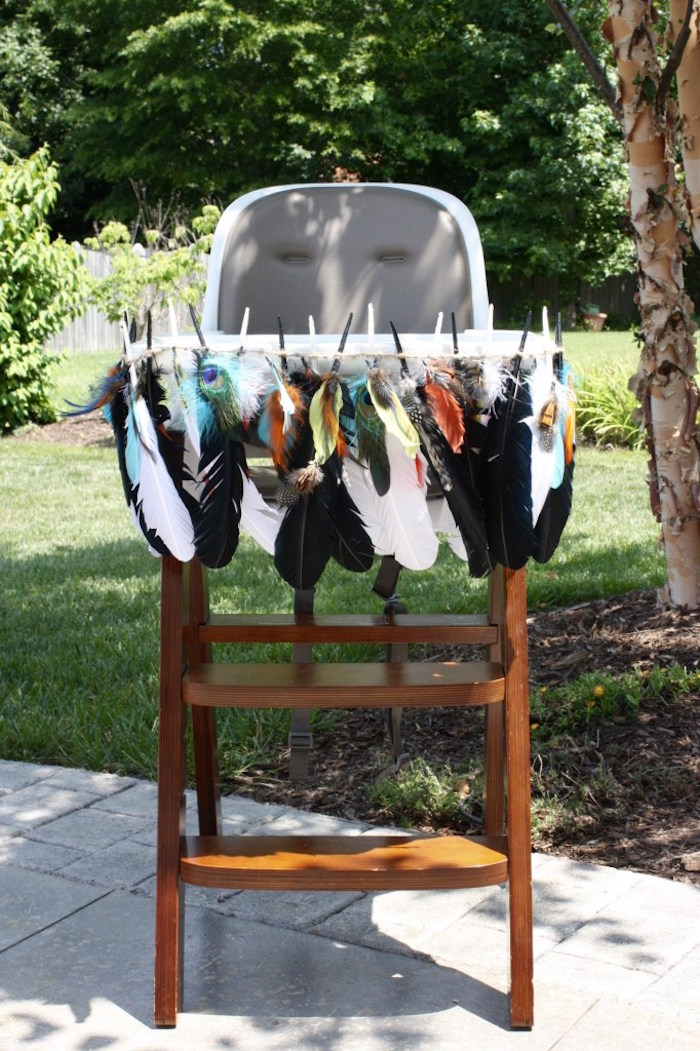 Feather bannered high chair from a 1st Birthday Pow Wow via Kara's Party Ideas | KarasPartyIdeas.com (8)