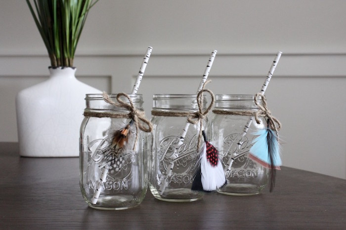 Tribal mason jar drink cups from a 1st Birthday Pow Wow via Kara's Party Ideas | KarasPartyIdeas.com (6)