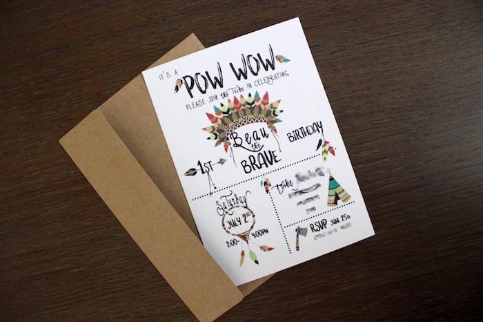 Invitation from a 1st Birthday Pow Wow via Kara's Party Ideas | KarasPartyIdeas.com (5)