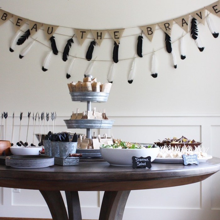 Party table from a 1st Birthday Pow Wow via Kara's Party Ideas | KarasPartyIdeas.com (3)