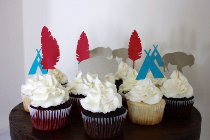 Cupcakes from a 1st Birthday Pow Wow via Kara's Party Ideas | KarasPartyIdeas.com (21)