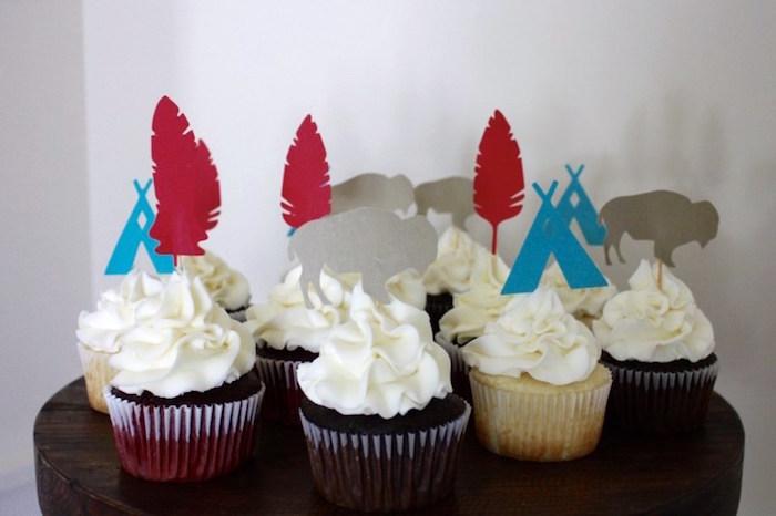 Cupcakes from a 1st Birthday Pow Wow via Kara's Party Ideas | KarasPartyIdeas.com (21)