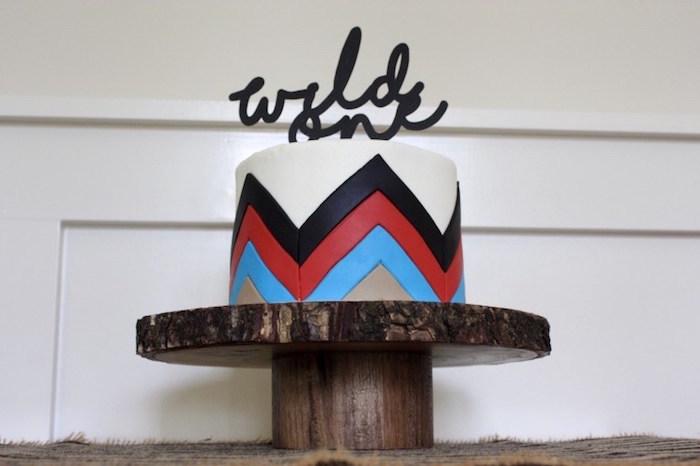 Tribal cake from a 1st Birthday Pow Wow via Kara's Party Ideas | KarasPartyIdeas.com (20)