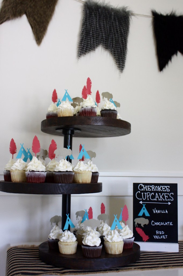 Cupcake stand from a 1st Birthday Pow Wow via Kara's Party Ideas | KarasPartyIdeas.com (19)