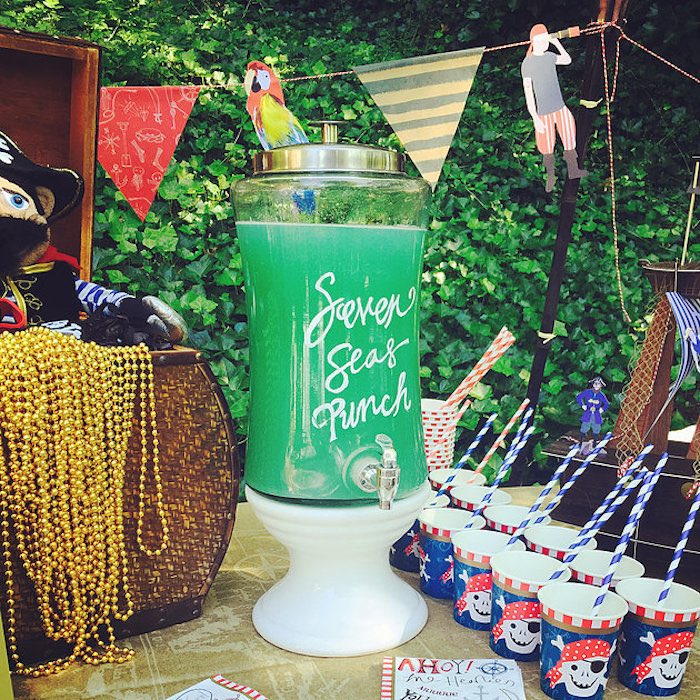 Seven Seas Punch from A Pirate's Life Outdoor Pool Party via Kara's Party Ideas! Full of party ideas, cakes, decor, printables and more! KarasPartyIdeas.com (4)