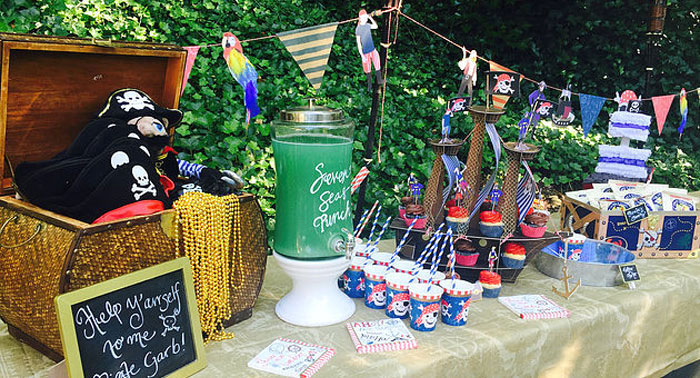 A Pirate's Life Outdoor Pool Party via Kara's Party Ideas! Full of party ideas, cakes, decor, printables and more! KarasPartyIdeas.com (1)