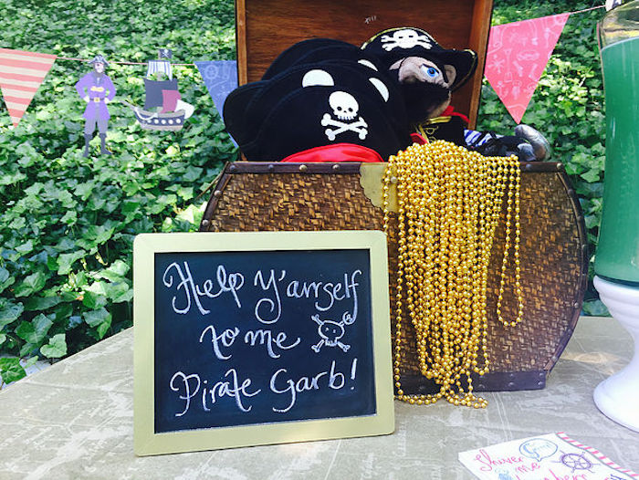 Pirate garb + party attire from A Pirate's Life Outdoor Pool Party via Kara's Party Ideas! Full of party ideas, cakes, decor, printables and more! KarasPartyIdeas.com (9)