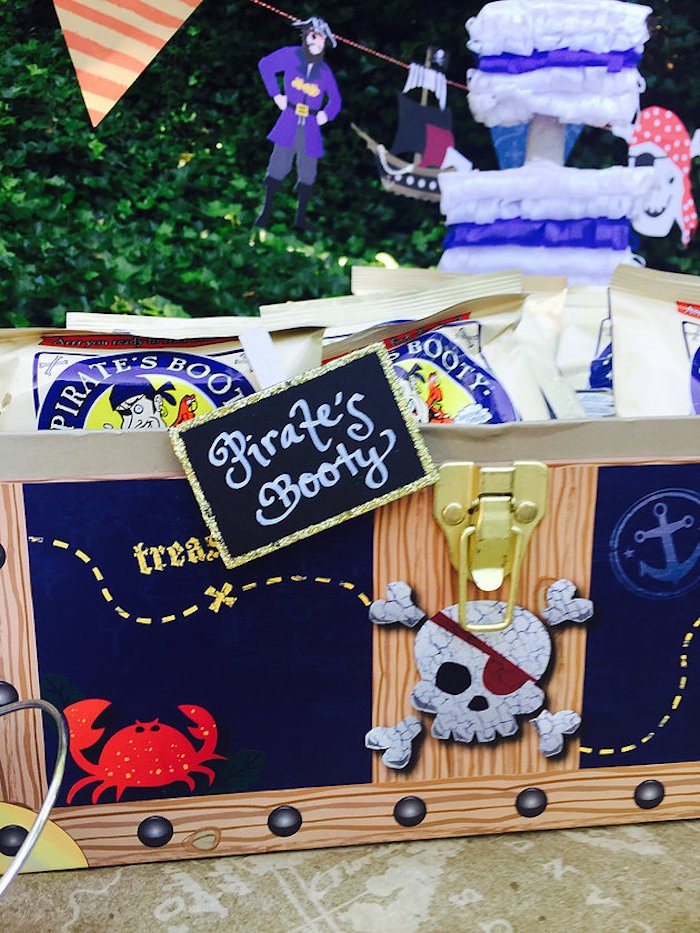 Pirate's booty treat + snack chest from A Pirate's Life Outdoor Pool Party via Kara's Party Ideas! Full of party ideas, cakes, decor, printables and more! KarasPartyIdeas.com (6)