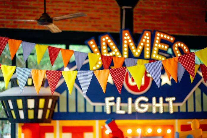 Pennant banner from an Airplane Themed Birthday Party via Kara's Party Ideas | KarasPartyIdeas.com (5)