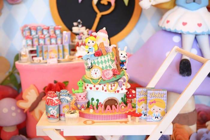 Cake display from an Alice in Wonderland Birthday Tea Party via Kara's Party Ideas | KarasPartyIdeas.com (15)