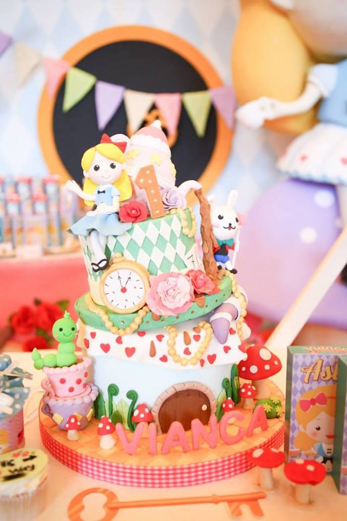 Alice in Wonderland Cake from an Alice in Wonderland Birthday Tea Party via Kara's Party Ideas | KarasPartyIdeas.com (6)