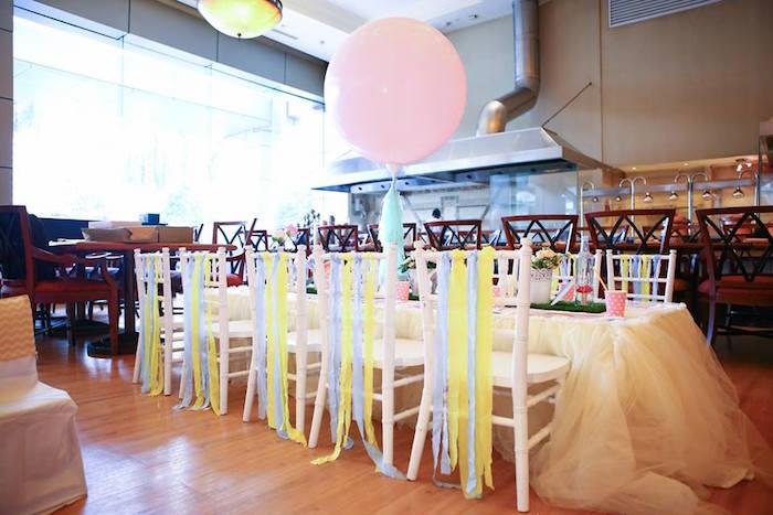 Guest table from an Alice in Wonderland Birthday Tea Party via Kara's Party Ideas | KarasPartyIdeas.com (21)