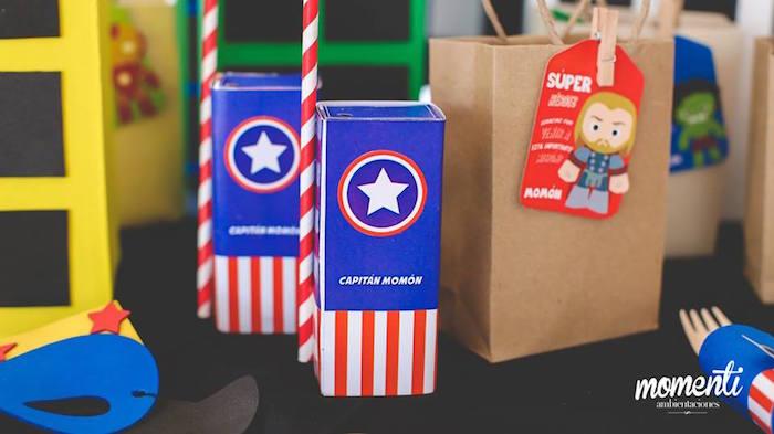 Captain America juice boxes from an Avengers Birthday Party via Kara's Party Ideas KarasPartyIdeas.com (15)
