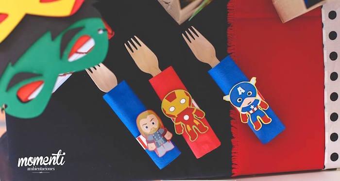 Wooden utensil packs from an Avengers Birthday Party via Kara's Party Ideas KarasPartyIdeas.com (8)